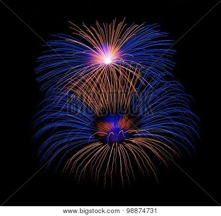Blue fireworks in dark background, orange red fireworks isolated in dark, colourful fireworks