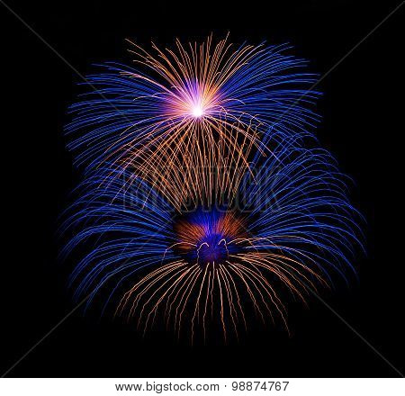 Colorful fireworks isolated in dark background