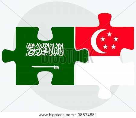 Saudi Arabia And Singapore Flags