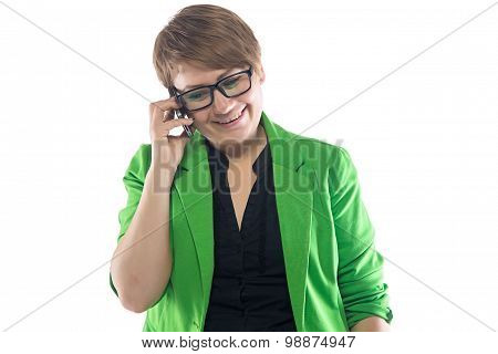 Photo of smiling woman speaking by phone