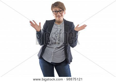 Image surprised pudgy woman with open hands