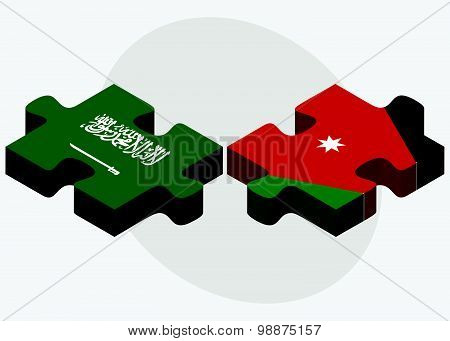 Saudi Arabia And Jordan Flags