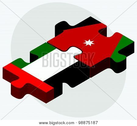 United Arab Emirates And Jordan Flags