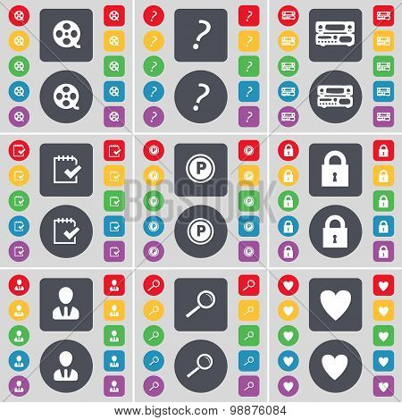Videotape, Question Mark, Record-player, Survey, Parking, Lock, Avatar, Magnifying Glass, Heart Icon