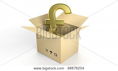 Golden British Pound sign in open carton box, isolated on white background