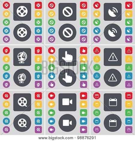 Videotape, Stop, Satellite Dish, Globe, Hand, Warning, Videotape, Film Camera, Calendar Icon Symbol.