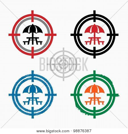 Camping And Picnic Table Icon On Target Icons Background
