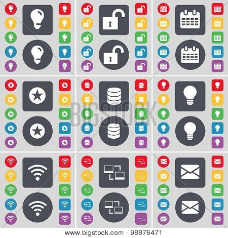 Light Bulb, Lock, Calendar, Star, Database, Light Bulb, Wi-fi, Connection, Message Icon Symbol. A La