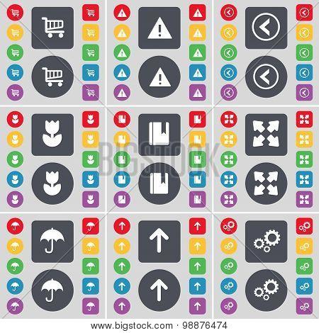 Shopping Cart, Warning, Arrow Left, Flower, Dictionary, Full Screen, Umbrella, Arrow Up, Gears Icon