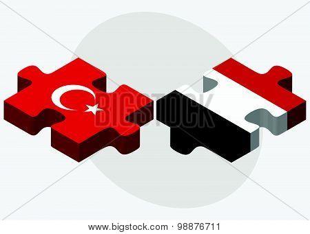 Turkey And Yemen Flags