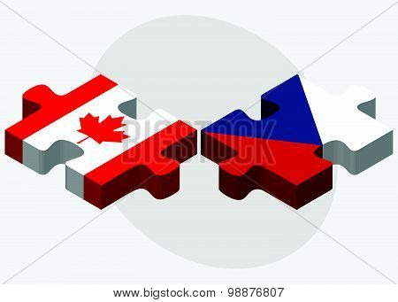 Canada And Czech Republic Flags
