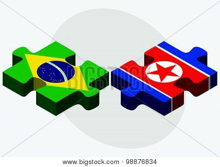 Brazil And Korea-north Flags
