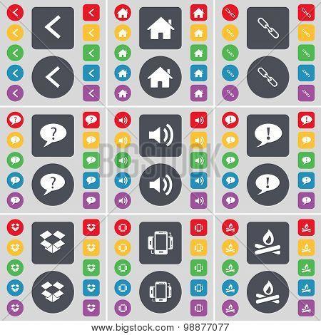 Arrow Left, House, Link, Chat Bubble, Sound, Dropbox, Smartphone, Campfire Icon Symbol. A Large Set