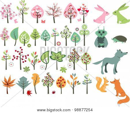 Big set with summer trees and forest animals - wolf,fox,hedgehog,squirrel.