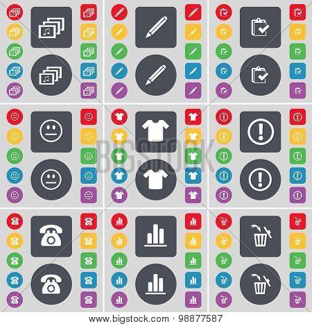 Gallery, Pencil, Survey, Smile, T-shirt, Information, Retro Phone, Diagram, Trash Can Icon Symbol. A