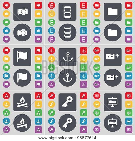 Camera, Negative Films, Folder, Flag, Anchor, Cassette, Fire, Key, Graph Icon Symbol. A Large Set Of