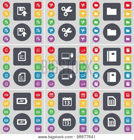 Floppy, Scissors, Folder, Text File, Laptop, Notebook, Charging, Calendar, File Icon Symbol. A Large