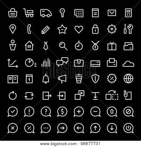 Linear icons set for web services. White color.