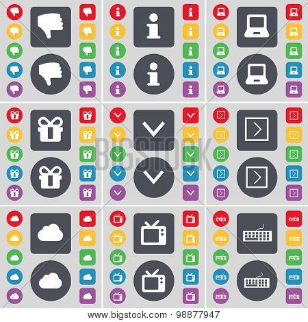 Dislike, Information, Laptop, Gift, Arrow Down, Arrow Right, Cloud, Retro Tv, Keyboard Icon Symbol.