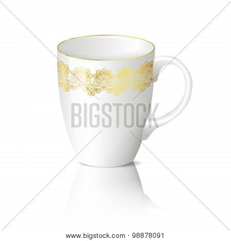 White Cup With Gold Ornaments With Reflection