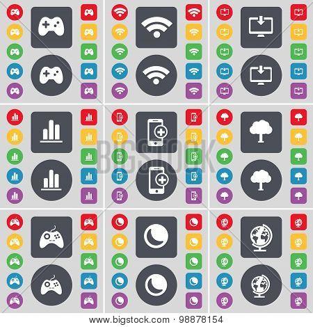 Gamepad, Wi-fi, Monitor, Diagram, Smartphone, Tree, Gamepad, Moon, Globe Icon Symbol. A Large Set Of