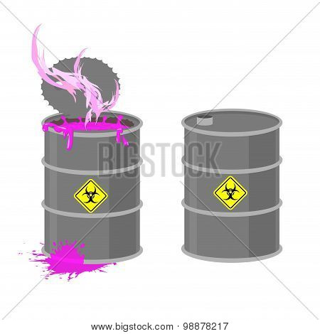 Barrel With Biohazard. Grey Barrel With Pink Radioactive Liquid. Chemical Waste From Production. Vec