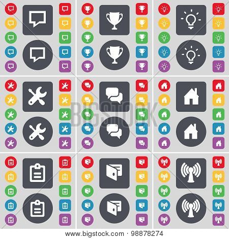 Chat Bubble, Cup, Light Bulb, Wrench, Chat, House, Survey, Wallet, Wi-fi Icon Symbol. A Large Set Of