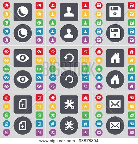 Moon, Avatar, Floppy, Vision, Reload, House, Upload File, Wrenches, Message Icon Symbol. A Large Set