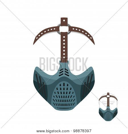 Horrible Mask Bdsm With Leather Straps. Protective Helmet For Sports. Vector Illustration Muzzle