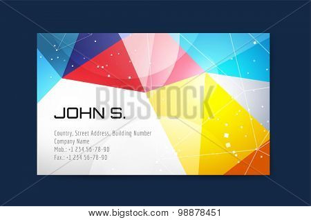 Vector business card template. Globe and ring logo icons. Abstract geometric low poly design and creative identity cards. Plank, paper print. Business card design.