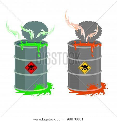 Barrel Of Toxic Waste. Biohazard Open Container. Grey With Red Barrel Of Radioactive Liquid. Green A