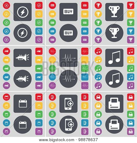 Flash, Buy, Cup, Trumped, Pulse, Note, Calendar, Smartphone, Printer Icon Symbol. A Large Set Of Fla