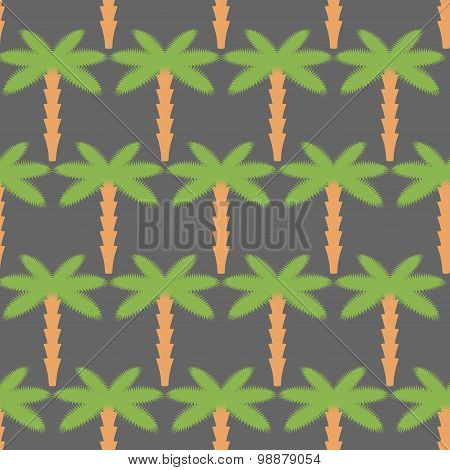 Palms Seamless Pattern. Background Of Tropical Trees. Vector Illustration Of Nature Of Ungle