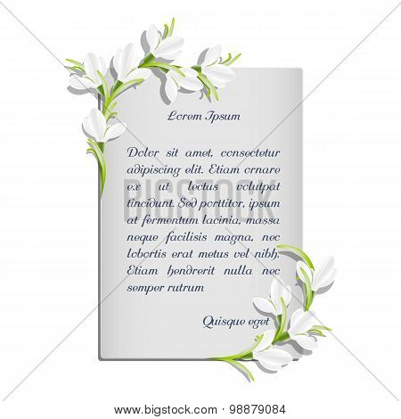 Vector template with snowdrop flowers for the inscription