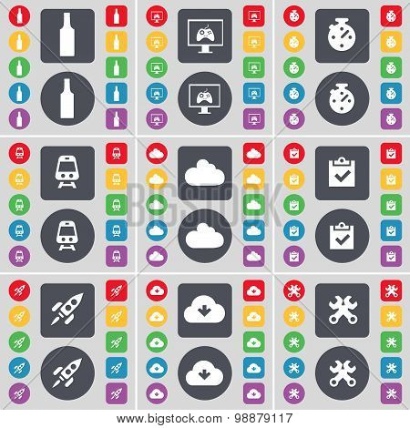Bottle, Monitor, Stopwatch, Train, Cloud, Survey, Rocket, Cloud, Wrench Icon Symbol. A Large Set Of