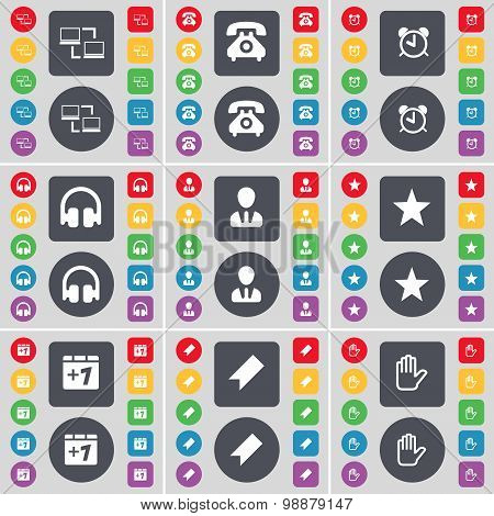 Connection, Retro Phone, Alarm Clock, Headphones, Avatar, Star, Plus, Marker, Hand Icon Symbol. A La