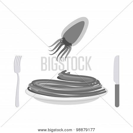 Black Pasta With Cuttlefish Ink Ingredient. Spaghetti On A Plate. Vector Illustration Of Delicatesse