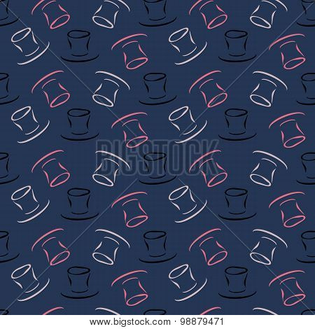 Seamless pattern with cylinder hat
