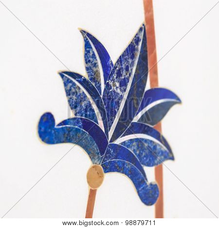 flowers leaf on white tile.  oae ceramic tile in mosque