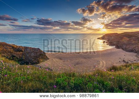 View Of A Beautiful Bay With Sandy Beach