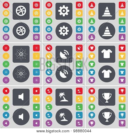 Ball, Gear, Cone, Star, Satellite Dish, T-shirt, Sound, Palm, Cup Icon Symbol. A Large Set Of Flat,