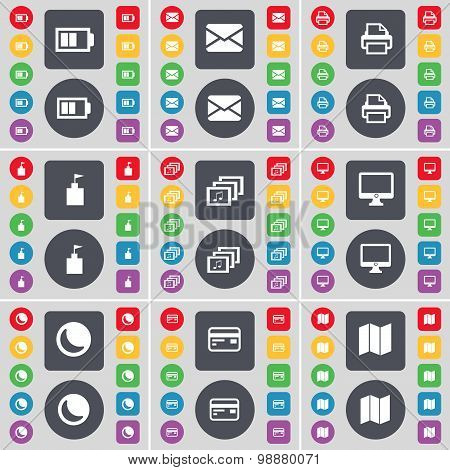 Battery, Message, Printer, Flag Tower, Gallery, Monitor, Moon, Credit Card, Map Icon Symbol. A Large