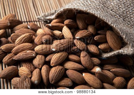 Large Grains Of Almonds In The Shell And The Bag