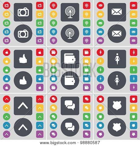 Camera, Wi-fi, Message, Like, Wallet, Silhouette, Arrow Up, Chat, Police Badge Icon Symbol. A Large