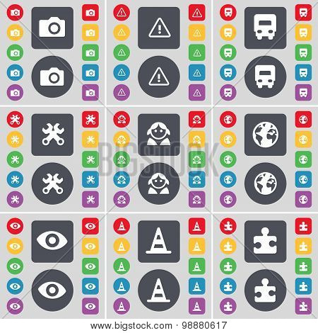 Camera, Warning, Truck, Wrenches, Avatar, Earth, Vision, Cone, Puzzle Icon Symbol. A Large Set Of Fl