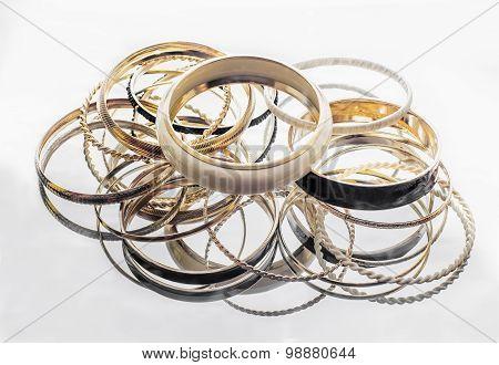 Lot Of Golden Bracelets