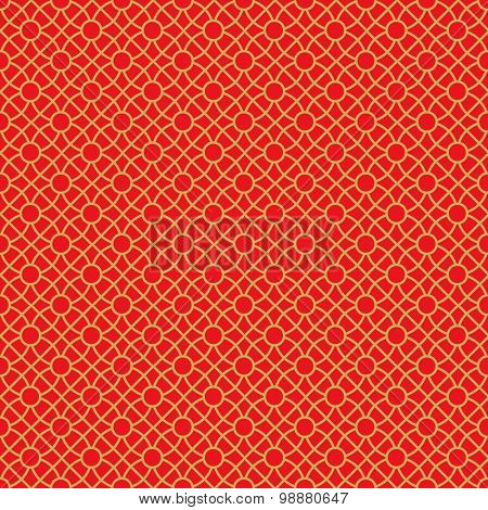 Golden seamless Chinese window tracery lattice cross round circle pattern.