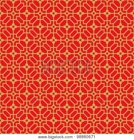 Golden seamless Chinese window tracery lattice polygon flower pattern.