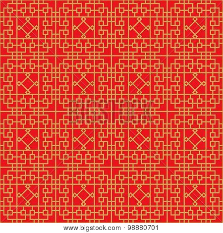 Golden seamless Chinese window tracery lattice geometry square diamond line background.