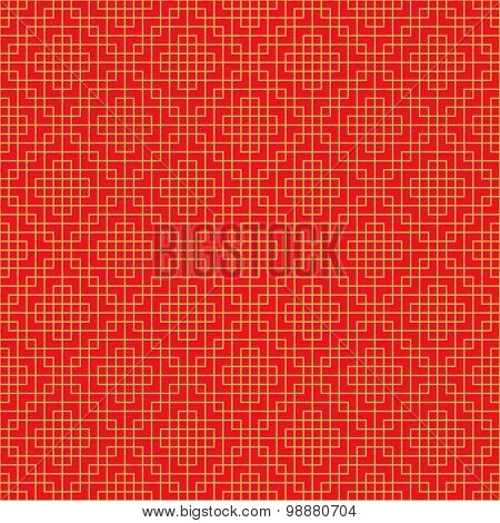 Golden seamless Chinese window tracery lattice square geometry line background.